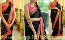 Bollywood Designer Sari Indian Georgette Partywear Sari Embroidered Saree Blouse