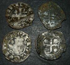 Medieval Silver 4 Coins Lot 1100-1300's Crusader Templar Cross Ancient Antique