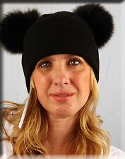 New Black Knit Beanie Fox Fur Pom Pom - Efurs4less