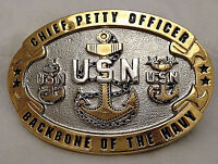 Custom Made Navy CPO Belt Buckle (Solid Brass and Gold) Web Belt