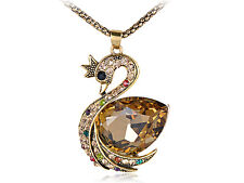 Lady Special  Golden Rhinestone Encrusted Topaz Swan Queen Pendant Necklace
