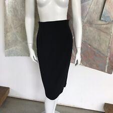 Krizia Black Wool Pencil Straight Knee Length Skirt Size 40