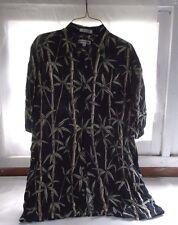 Men's Pierre Cardin Hawaiian Shirt Size Medium Black Green Bamboo