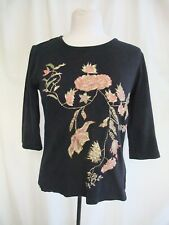 Ladies Top Indigo Moon XS, black cotton, floral embroidery & sequins 0242