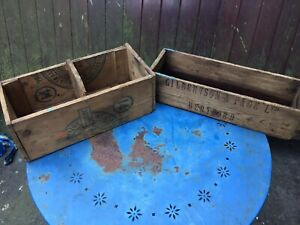 vintage wooden advertising boxes (small) good decorators piece