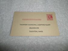 1953 Electric Meter Read Taunton MAss UX38 2 cent Post Card Franklin Preprinted