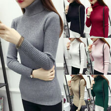 Womens Spring Turtle Polo Neck KNITTED Fitted Jumpers Sweater Pullover Lady Tops