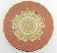 Antique Hohenberg Bavaria Black Knight Cabinet Plate Pink Gold Encrusted Florals