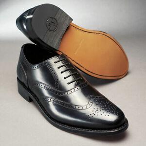 Samuel Windsor Mens Shoes Cheltenham Brogue Leather Lace up Black UK Sizes 5-14