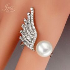 New White Pearl 925 Sterling Silver CZ Cultured Freshwater Adjustable Ring 01162