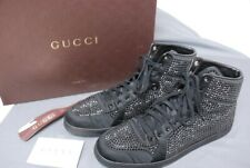 Pristine GUCCI men's black crystal black high top sneakers 10 1/2 / US 11 1/2
