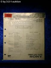 Sony Service Manual CDP 670 CD Player (#0533)