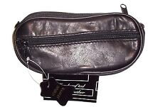 Black Leather Double Eyeglass Case - Belt Loops on Back - Removeable Wristband