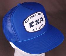 Vtg Czechoslovak Airlines CSA Trucker Hat-Patch-Rope Bill-Blue-Mesh-Snapback.EU.