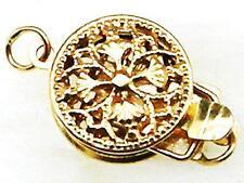 14K Yellow Gold Filigree Pearl Jewelry Single Strand Necklace Bracelet Clasp