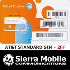 AT&T STANDARD MINI SIM 2FF • GSM 4GLTE • OEM • Prepaid GoPhone or Contract  NEW
