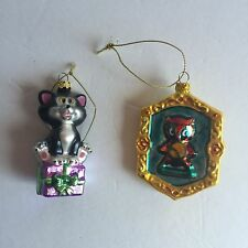 Pinocchio Disney Ornaments Figaro and Owl Blown Glass Rare