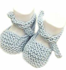 Scarpine cotone neonato realizzate a mano a maglia - azzurro