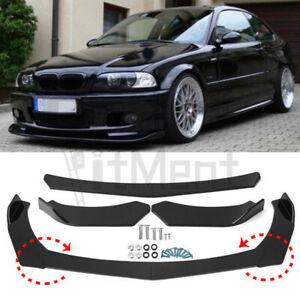 For E36 E46 E60 E90 E91 X5 X Glossy Black 4Pcs Front Bumper Lip Splitter Spoiler