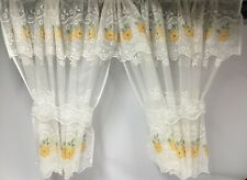 "Blossom Ivory window set inc tie-backs lemon flower, reduced to clear 80""x54"""