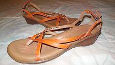 BORN Orange LEATHER Sling-back LOW WEDGE Heel THONG SANDALS  8M Buckle Strap