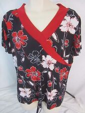 Carolyn Strauss Womens Large Blue Red White Floral SS Top Stretch Shirt - CB16T