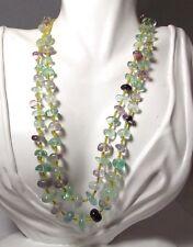 Fluorite Pale Blue Green Purple Quartz Seed Bead Strand 2 tier Necklace 11h 8