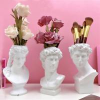 Greek Mythology David Head Bust Statue Resin Flower Pot Vase European Sculpture