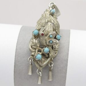 Vintage Mexican Sterling Silver Pajarito Bird Turquoise Dangle Signed Pendant
