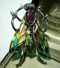 STERLING SILVER PLIQUE A JOUR ENAMEL ART NOUVEAU RUBY FLY INSECT BROOCH PIN