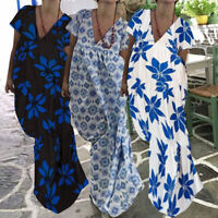 Size Women Summer V-Neck Bohemia Floral Holiday Beach Ladies Long Maxi Sun Dress