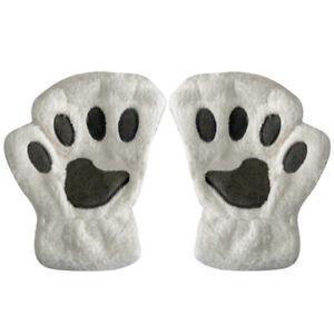 Womens Girls Cat Claw Paw Bear Gloves Polar Fleece Arm Warmer Fingerless Mittens