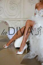 MENBUR ~ Luxus Strass Peep Toe Pumps Leder Brautschuhe Ivory 39 %SALE% OVP 219 €