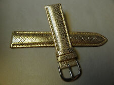 Nuova Brillanti Oro Imbottito 20mm Cinturino Orologio Color Argento Fibbia