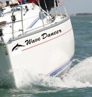 PERSONALISED BOAT NAME Decals / Stickers / Graphics 2 X 600MM WITH DOLPHINS