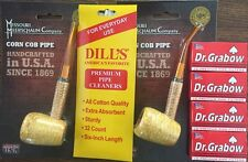 BENT STRAIGHT Missouri Meerschaum Corn Cob Pipe & Dills Cleaners & Grabow Filter