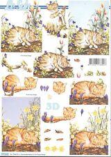 Feuille 3D à découper A4 - 777.532 - Animal Chat endormi - Decoupage Cat