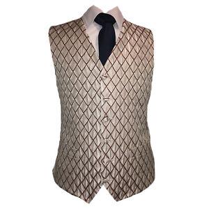 Red Checkers Waistcoat Vest Wedding Formal UK Men's (A71)