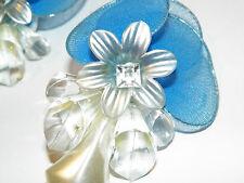 OOAK Light Blue Fabric Light Weight w Lucite decor Flower Pierced Earrings