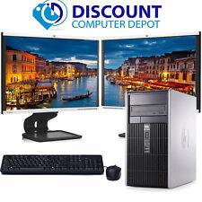 "HP Windows 10 Desktop PC Tower Intel Dual Core 4GB 160GB WiFi Dual 2x 17"" LCD"