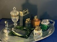 Lot Of Vintage Table Lighters ,mastercase, Ashtrays,Ronson,leather,Wood,Crystal