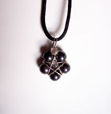Handmade Silver Plated Hematite Wire Wrapped Star Flower Pentacle Pendant