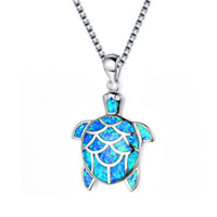 Fashion Cute Turtle Blue Fire Opal Charm Pendant Necklace 925 Silver Jewelry