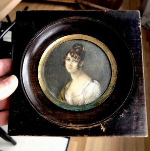 19thC Antique Miniature Folk Art Portrait Painting Young Woman
