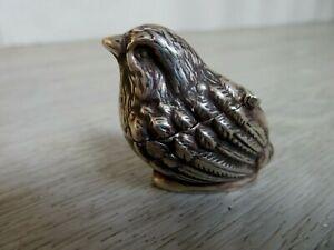 FINE SOLID STERLING SILVER HALLMARKED NOVELTY BIRD FIGURE PIN CUSHION HINGE HEAD