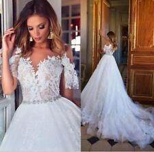 2018 Dubai Lace Covered Button Wedding Dress Ivory Lace Plus Size Bridal Gown