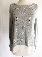 White House Black Market XS Gray White Layered Chiffon Sweater Beaded Pullover