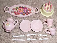 BARBIE KEN DOLL HOUSE KITCHEN DINING FOO DISHES - LIGHT PINK TEA SET w/ CAKE