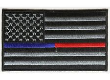 "(F26) BLUE & RED Line American Flag 3.5"" x 2.1"" iron on patch (4934) Police EMT"