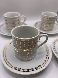 NEW Pottery Barn Gold & White Espresso Coffee Cups & Saucers ~ set of 4